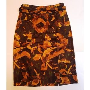 New York & Company floral print belted skirt